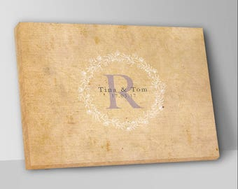 Rustic Antique Canvas Wedding Guest Book Alternative Guest Book Wedding Guestbook Custom Monogram  Guest Book Canvas Wedding Guestbook