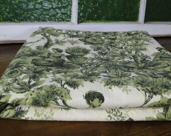 Green and Cream Victorian Toile Vintage Fabric - One Yard