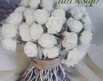 Spring bouquet, white roses, pink, purple roses, Wedding Bouquet, Rustic Bouquet, Silk Bouquet, Bridal Bouquet, St.Valentine's day bouquet