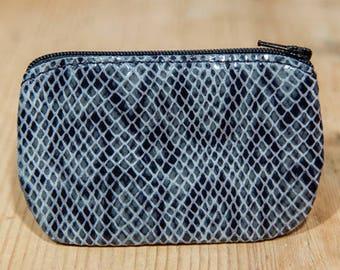 Grey snakeskin effect leather wallet
