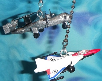 Set of Two ~ Diecast Fighter Jets - Star Silver White - Free Shipping - Ceiling Fan Pull Chains