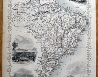 BRAZIL, URUGUAY, South America, Rapkin & Tallis antique map 1851