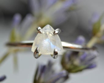 Triangle Moonstone Ring - Sterling Silver & 14k Gold Fill