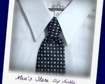 clip on necktie, Men's clip on tie, designer tie, blue tie, Gentlemen's tie, 1970's tie    # T 14