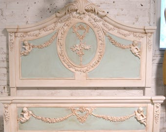 Painted Cottage Shabby Romantic Princess Cherub Angel Twin / Double /Full Bed BD791