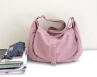 Mother day - Canvas Messenger bag,Shoulder bag,Gift for her ,Diaper bag ,Purse,Handbag,Women,School Bag-Pale Pink /Sale 25 % - no.12 KYLIE