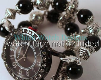 Everyday Black.. Black Jade and Silver Plated Interchangeable Beaded Watch Band
