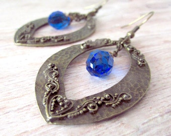 Antique Blue Crystal Earrings - Vintage Look Earrings - Girlfriend Gifts Under 20 - Bohemian Jewelry Gifts for Her - Everyday Earrings