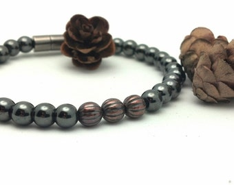 Men's Fluted Copper & Black Hematite Magnetic Therapy Bracelet Phases Of Life Super High Power Wellness Health FREE gift card