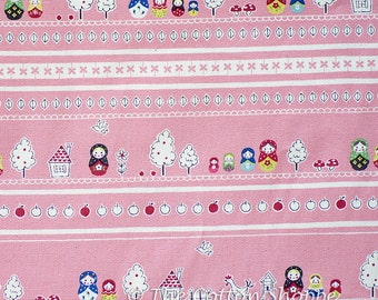 Russian Doll Matryoshka Fabric ~ Kokka Fabric ~ Japanese Fabric ~ Pink Fabric ~ Home Decor Fabric ~ Apparel Fabric ~ Cotton Oxford Fabric