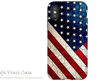 American Flag iPhone X Tough Case - Dual Layer Protection for iPhone 10 - U.S. Flag Art - Stars and Stripes by Da Vinci Case