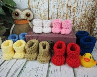 Baby Booties, Crochet Baby booties, Newborn booties,  0-3 mo, 3-6 mo, 6-9 mo, 9-12 month, Unisex,  Pick your color, boy booties, girl bootie