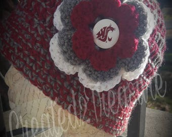 WSU Cougars Inspired Cloche Hat/WSU/Crochet Hat/Cloche Hat