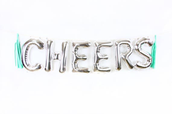 """16"""" Silver CHEERS Balloon, Letter Balloon, Silver Balloon Banner, Bridal Shower, Photo Booth, Wedding Photo Prop, Silver Cocktail Cheers"""
