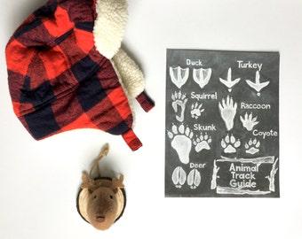 Animal Track Digital Download Printable. Chalkboard Print - Woodland Nursery Print- Nature Inspired Art