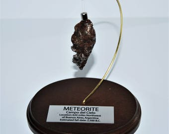 Campo del Cielo METEORITE 54.7 gm w/ Wood Display, Label & COA E62