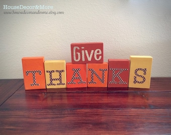 Give Thanks Wooden Block Set/Wood Blocks/Fall and Thanksgiving Sign/Mantel Decor