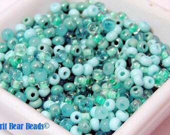 SeaFoam II limited edition Czech Glass Beads 35g size 6/0 4mm D