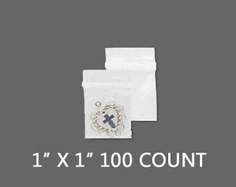 """CLEARANCE - Plastic Bags - Zipper Bag - 1"""" x 1"""" - Zip Close Bags - Zip Bag - Storage Bag - Resealable Bag - Zip Lock - 100 COUNT"""