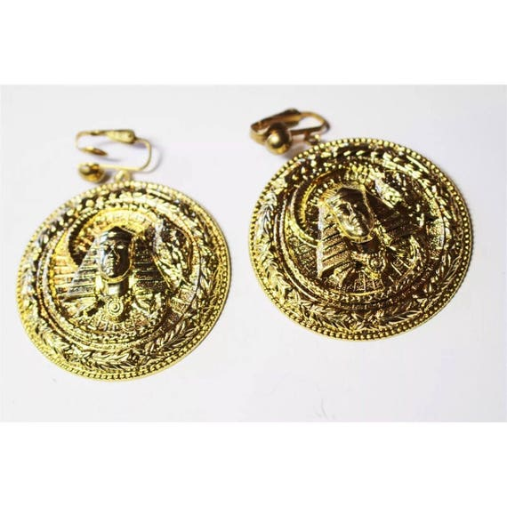 Large Round Gold Tone Pharaoh Spinx Egyptian Revival Clip on Earrings