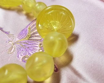 Set of 3 Vintage Lemon-colored Lucite Beaded Necklaces and Matching Pierced Earrings