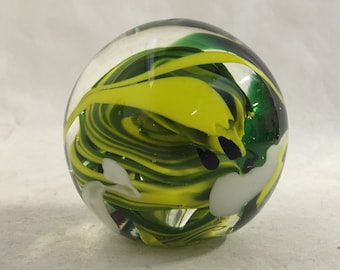 Green and White Swirled Striped Paper Weight.