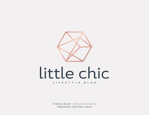 Premade Logo Geometric Minimalist Chic Blog