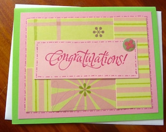 Congratulations Card, Handmade Pink Congratulations Card, Graduation For Her, Best Wishes, Colorful Congrats, Paper Handmade Greeting Card