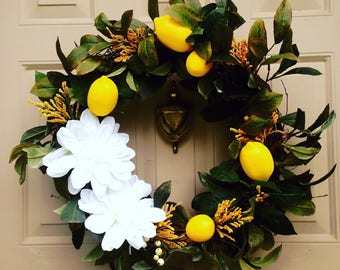 Lemon and white floral wreath