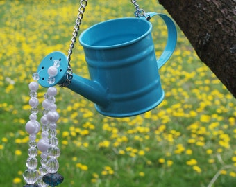 Mini Blue Watering Can Wind Chime Garden Decor