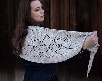 INSTANT DOWNLOAD PDF Knitting Pattern for Women's Lace Shawl Wrap Crescent Semicircular Triangle with Lace Garter Nica