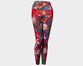 Red Bloom Yoga Leggings