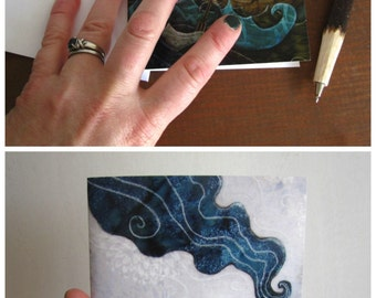 She never looked back, illustrated blank card, ocean adventure waves, glossy finish