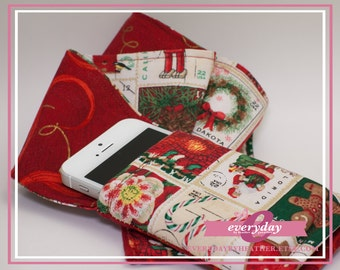 dSLR Camera Strap Cover - Red/Gold Swirls & Christmas Postage Stamps