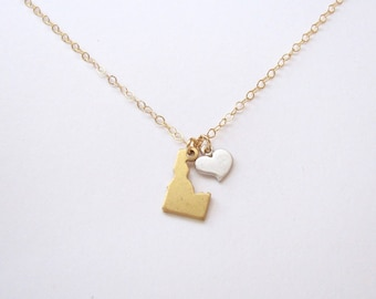 State Necklace with Heart, Idaho Pendant, State Necklace, Brass State Necklace, Idaho Jewelry, State Charm Necklace - 14K Gold Filled Chain