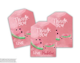 Printable Watermelon Birthday Party Thank You Tags - Watercolor Watermelons Pink / Custom Name