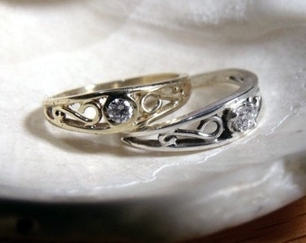 Crow Ring in Sterling Silver with Moissanite Center Stone RF180j