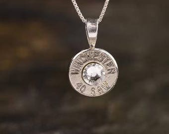Bullet Necklace, Winchester Sterling Silver Nickel 40 Caliber Custom Bullet Head Necklace with Box Chain, WIN-40-N-SBHN, Custom Necklace