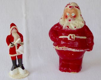 Vintage Papier- Mache' Santa Lantern and Mixed Material Standing Santa,  2 pcs.