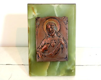 French Vintage Sacred Heart Of Jesus Plaque/Vintage Sacred Heart Of Jesus  Plaque/Vintage Jesus Plaque/Copper And Marble Jesus Plaque
