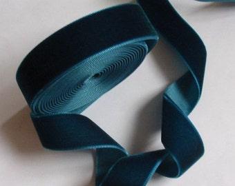5 yards 3/4 inches Velvet Ribbon in Dark Teal RY34-65