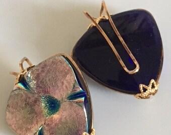 Beautiful Iridescent Czech Glass Flower Earrings Hillcraft 1950s