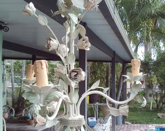 Vintage Mid Century Tole Rose Metal 3 Arm Chandelier Made In Italy
