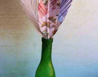 3 plumes de papier recyclé, papier d'art