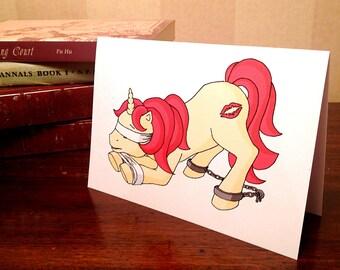Kinky 'Ruby Lips' pony original design on blank greeting card