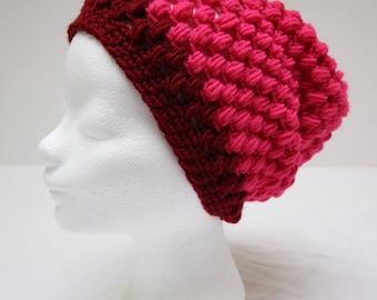 Bright handmade crochet beanie with stud pattern