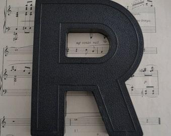 Vintage Salvage Industrial Signage Plastic Black Capital Letter R