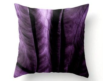 Throw Pillow - home decor, dorm decor, purple cushion - elephant ear leaf design