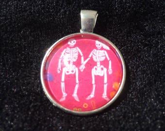 Pink Skeleton Couple Pendant