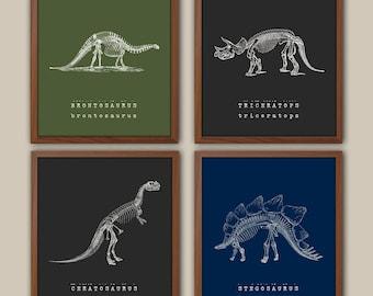 Baby Boy Nursery - Dinosaurs - Dinosaur Art - Boys Nursery Art - Kids Wall Art - Playroom Wall Hanging - Boys Room Decor - Set Of 4